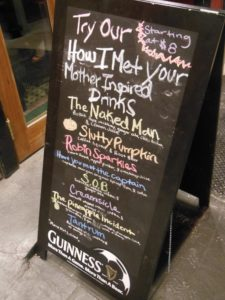 Mc Gee's Menu in New york, How I met your mother pub