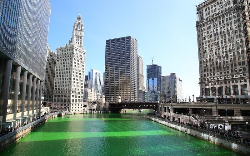 Il fiume Chicago per Saint Patrick's Day